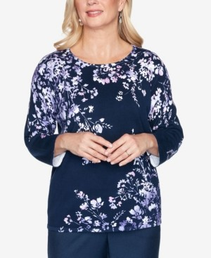 Alfred Dunner Women's Wisteria Lane Asymmetric Floral Print Sweater