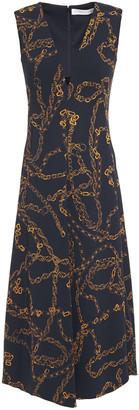 Victoria Beckham Velvet-trimmed Printed Stretch-cady Midi Dress