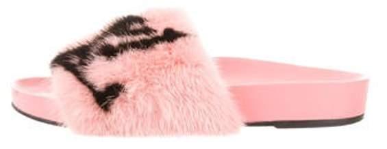 Louis Vuitton Logo Mink Slide Sandals Pink Logo Mink Slide Sandals