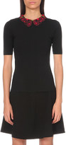 Sandro Elmer embroidered-collar knitted top
