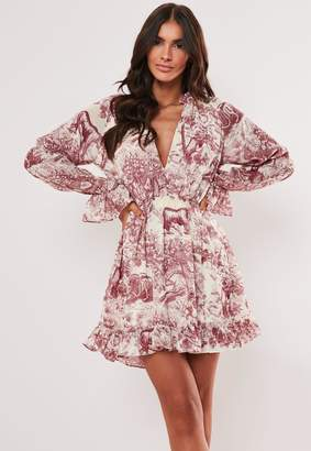 Missguided Petite Red Floral Print Frill Plunge Smock Dress