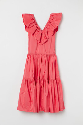 H&M Ruffle-trimmed Taffeta Dress - Red
