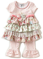 Bonnie Jean Lainey & Lily Baby Girls Newborn-24 Months Mixed-Media Fit-And-Flare Dress & Striped Leggings Set
