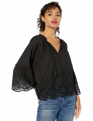 Cupcakes And Cashmere Women's Maya Eyelet Embroidered Cotton Peasant top