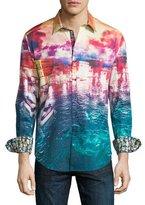 Robert Graham Venetian Lagoon Landscape-Print Sport Shirt, Multicolor
