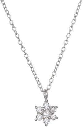 Lauren Conrad Sterling Silver Crystal Flower Pendant Necklace