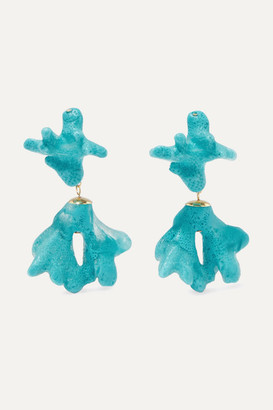 Dinosaur Designs Small Coral Resin And Gold-tone Earrings - Turquoise