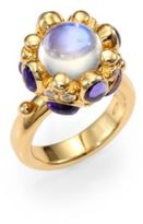 Temple St. Clair Royal Blue Moonstone, Tanzanite, Diamond & 18K Yellow Gold Cabochon Cluster Ring