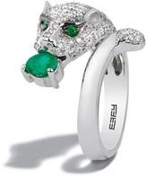 Effy Jewelry Effy Signature 14K White Gold Diamond and Emerald Ring, 1.16 TCW