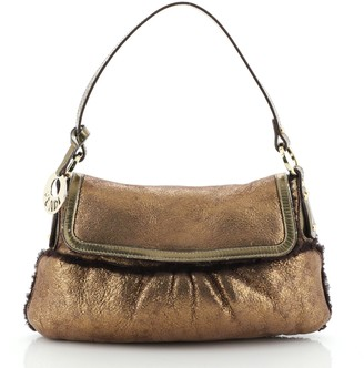 Fendi Chef Flap Bag Metallic Leather with Shearling Small