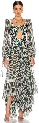 PatBO Geo Print Long Sleeve Cutout Dress in Green & Pink | FWRD