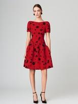 Oscar de la Renta Drop-Waist Tossed Poppies Wool-Crepe Dress