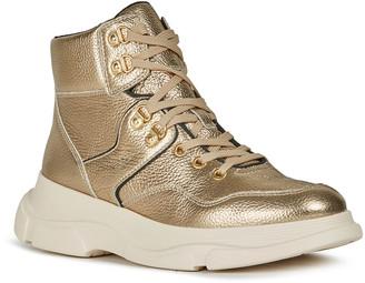 Geox Macaone 4 Metallic Pebbled Leather Sneakers