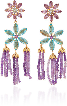 Bounkit 14K Gold-Plated, Amethyst and Quartz Earrings