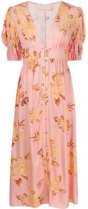 Keepsake floral print deep V-neck dress