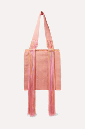 Sophie Anderson Joss Fringed Woven Tote - Pink