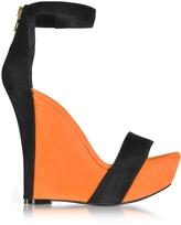 Balmain Samara Orange and Black Suede Wedge Sandals