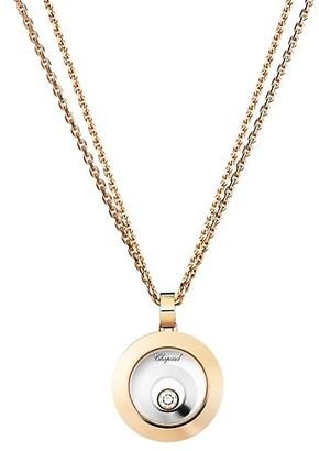 Chopard Happy Spirit Diamond, 18K Rose & White Gold Double Circle Pendant Double-Chain Necklace