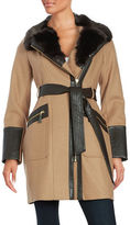 Via Spiga Faux Fur Trim Coat