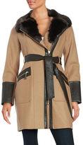 Via Spiga Plus Faux Fur and Leatherette-Trimmed Coat