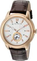 Lucien Piccard Men's 'Duval' Quartz Stainless Steel and Leather Automatic Watch, Brown (Model: LP-40032-RG-02S-BRW)