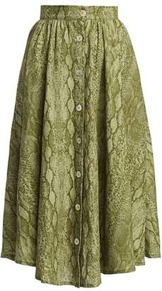 Andamane Diletto Python Print Button-Front Midi Skirt