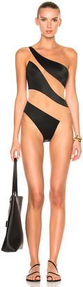 Norma Kamali Snake Mesh Mio Swimsuit in Black & Nude | FWRD