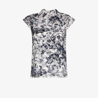Erdem Womens Blue Botanical Print Silk Blouse
