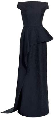 Teri Jon By Rickie Freeman Off-the-Shoulder Ruffled Gown