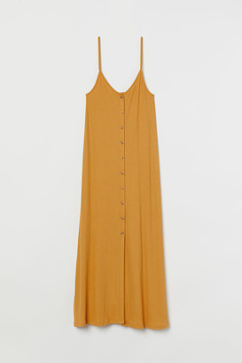 H&M Button-front ribbed Dress - Yellow