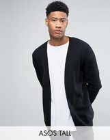 Asos TALL Longline Open Cardigan in Cable with Rib Detail
