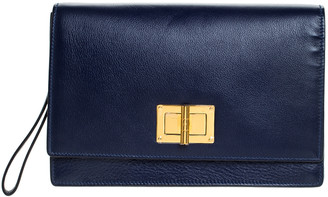 Tom Ford Blue Leather Turn Lock Wristlet Clutch