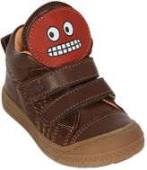 Ocra Leather Sneakers With Smiling Patch