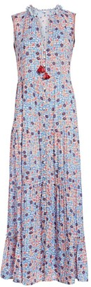 Poupette St Barth Clara Sleeveless Floral-Print Button-Front Maxi Dress
