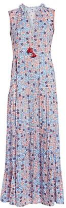 Poupette St Barth Clara Sleeveless Floral-Print Button-Front Maxi Dress