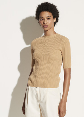Vince Ribbed Elbow Sleeve Crew