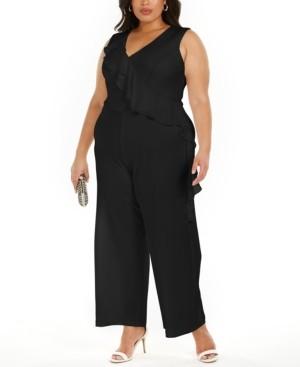 Connected Plus Size Ruffled Wide-Leg Jumpsuit