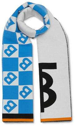 Burberry Contrast Logo Graphic Wool & Silk Jacquard Scarf