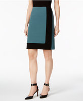 Nine West Two-Tone Bi-Stretch A-Line Skirt