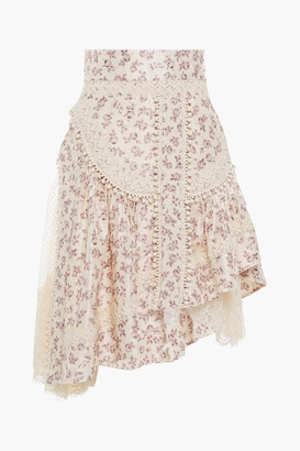 Zimmermann Asymmetric Floral-print Silk-shantung, Flocked Tulle And Lace Skirt