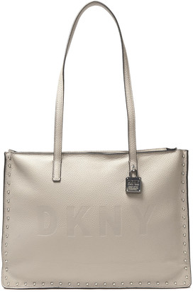 DKNY Commuter Studded Embossed Pebbled-leather Tote