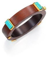 Lizzie Fortunato Cubist Turquoise & Wood Bangle Bracelet