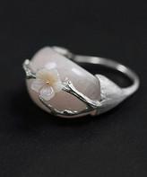 Lotus Fun Women's Rings silver - Rose Quartz & Sterling Silver Floral Vine Ring