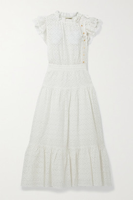 Ulla Johnson Lucille Tie-detailed Ruffled Broderie Anglaise Cotton Midi Dress - White