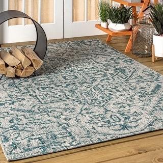 Jonathan Y Designs Estrella Bohemian Medallion Textured Weave Indoor/Outdoor Area Rug