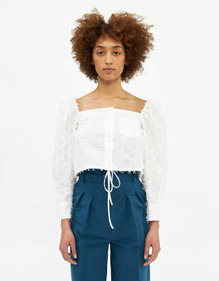 Pushbutton Puff Sleeved Cropped Top