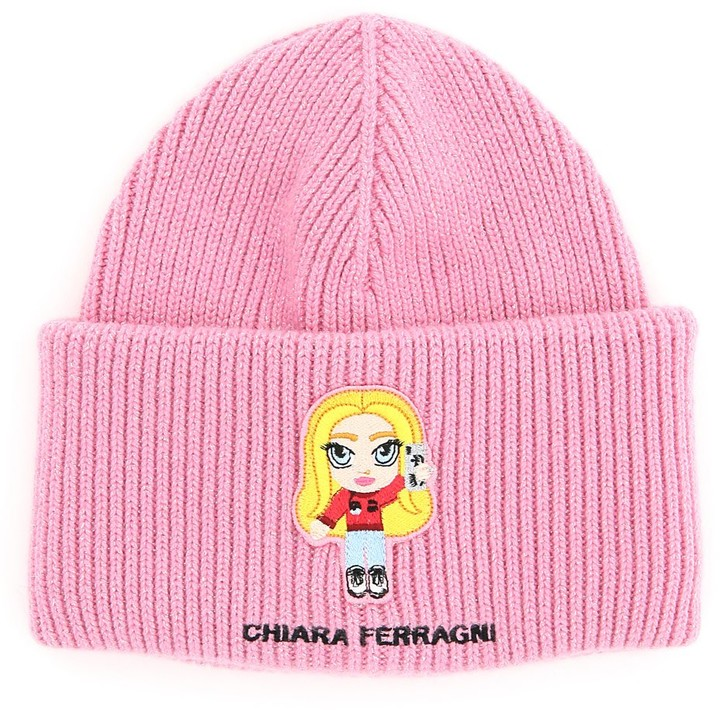Chiara Ferragni Logo Patch Ribbed-Knit Beanie