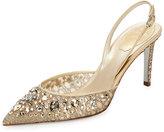Rene Caovilla Jeweled Lace Slingback 75mm Pump, Gold