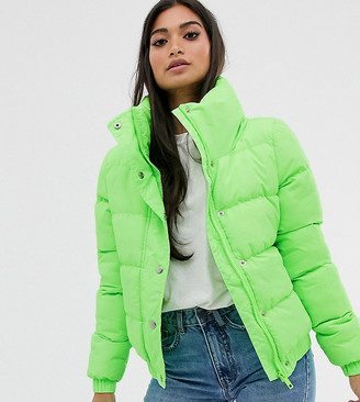 Brave Soul Petite slay padded coat in crop length