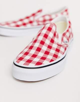 Vans Slip-On red gingham sneakers